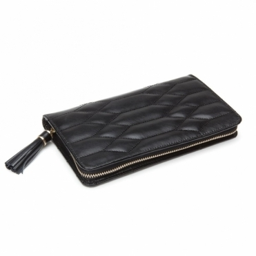 Caroline Portfolio Jewellery Case in Black Quilted Leather