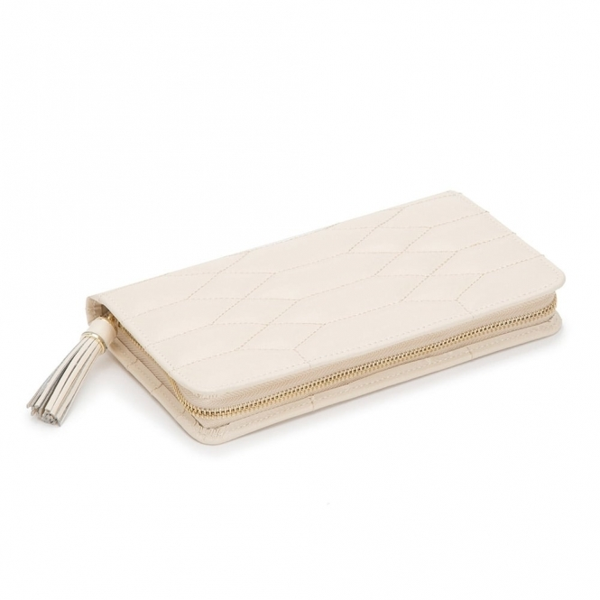 Caroline Portfolio Jewellery Case in Ivory Quilted Leather