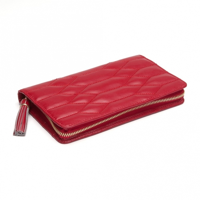 Caroline Portfolio Jewellery Case in Red Quilted Leather