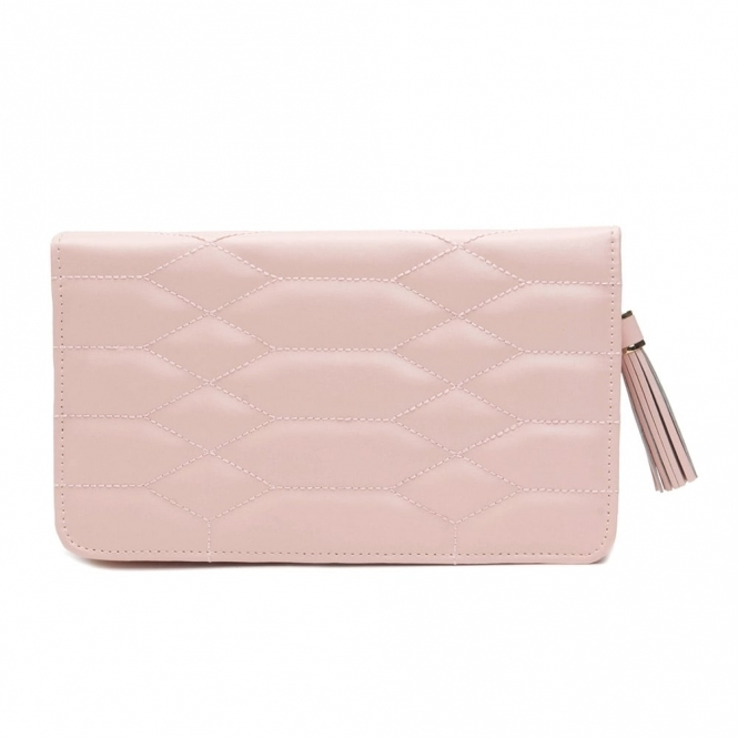 Caroline Portfolio Jewellery Case in Rose Quartz Quilted Leather