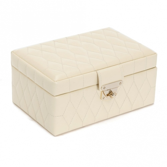 ce1adf9fc Wolf Designs Caroline Small Jewellery Box in Cream Quilted Leather