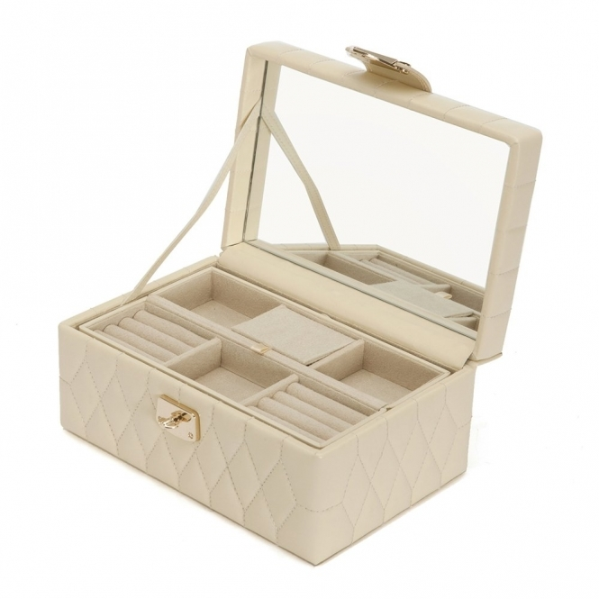5d08d2a9c Caroline Small Jewellery Box in Cream Quilted Leather | Wolf