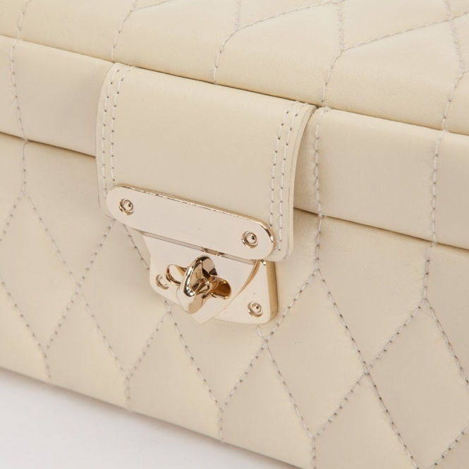 23934fdc7 Caroline Small Jewellery Box in Cream Quilted Leather. Wolf ...