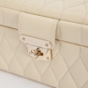 Caroline Small Jewellery Box in Cream Quilted Leather