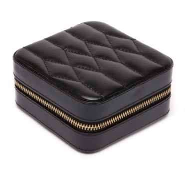 Caroline Zip  Case in Black Leather.