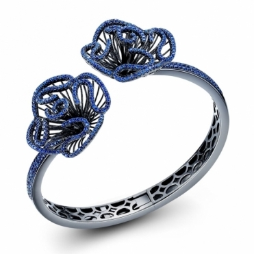 Cascade Blue Bangle in Black Rhodium Finish
