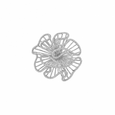 Cascade Brooch in Rhodium Finish