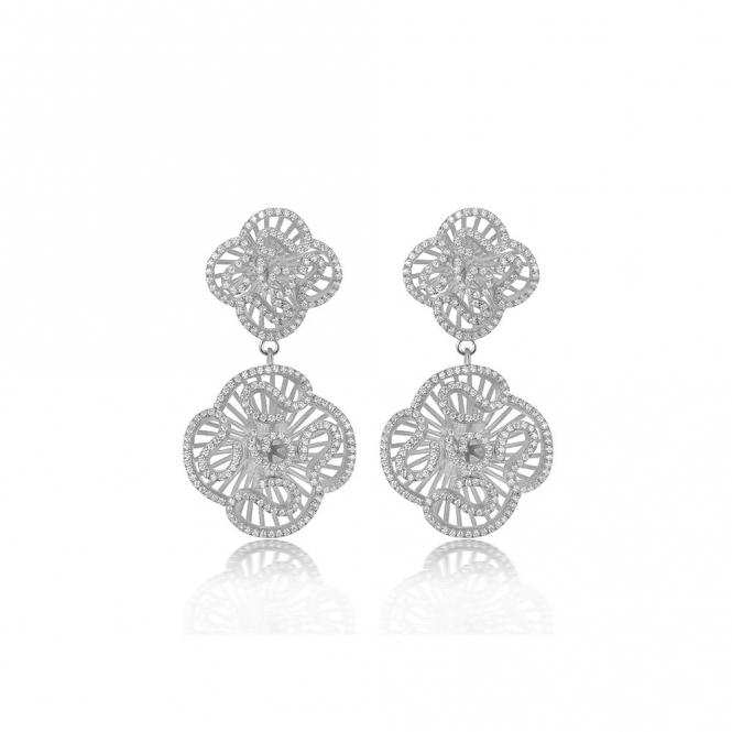 Cascade Double Drop Earrings in Rhodium Finish