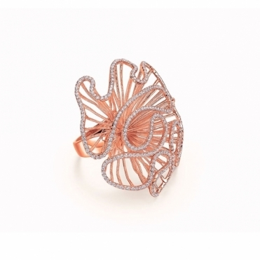Cascade Large Polished Ring with CZ in Rose Gold Finish
