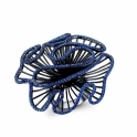 Cascade Large Ring with Blue Stones in Black Rhodium Finish