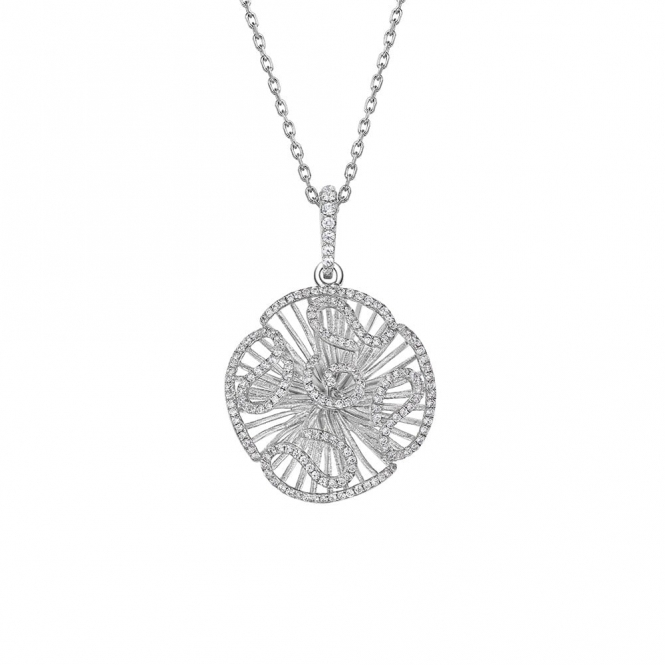 Cascade Medium Pendant with CZ in Rhodium Finish