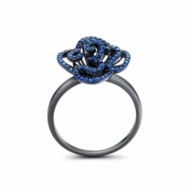 Cascade Stud Ring with Blue Stones in Black Rhodium Finish