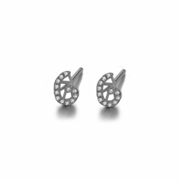 Cascade Tiny Swirl Earrings in Rhodium Finish