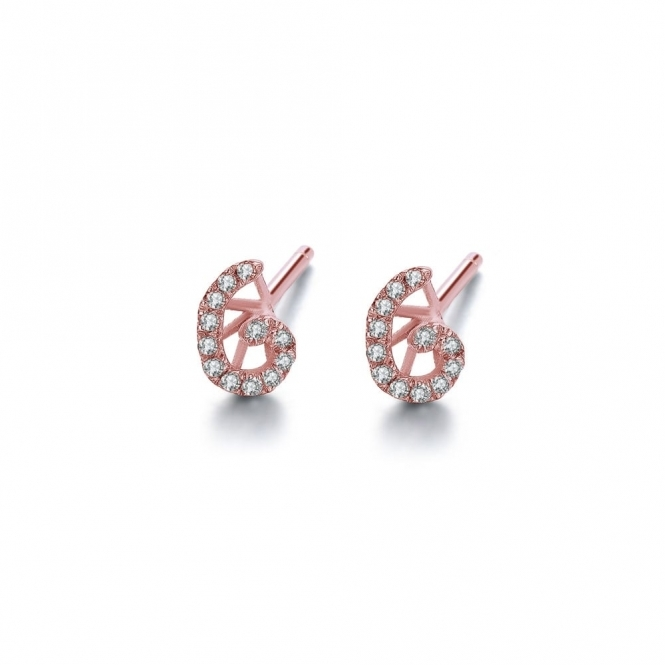 Cascade Tiny Swirl Earrings in Rose Gold Finish