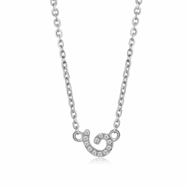 Cascade Tiny Swirl Pendant in Rhodium Finish