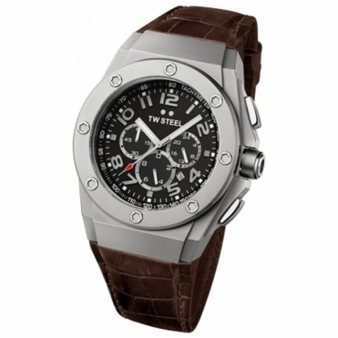 CEO Tech 48mm quartz chronograph watch in sandblasted steel case with black dial and dark brown Italian leather strap - CE4014