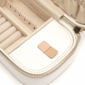 Chloe Zip Jewellery Case in Cream Leather with Cut-Out Quatrefoil Design