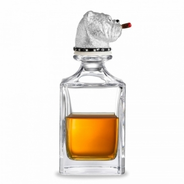 Churchill Bulldog with Cigar Stopper and Crystal Decanter