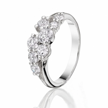 Claw Set 18ct White Gold Diamond Bubble Ring
