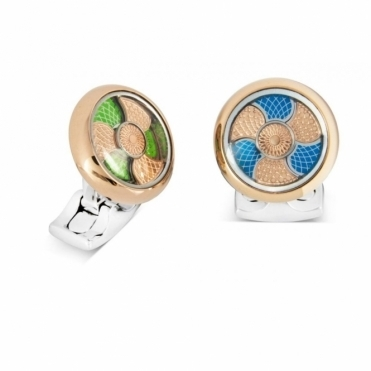 Colour Change Rose Gold Plate Blue/Green Enamel Cufflinks