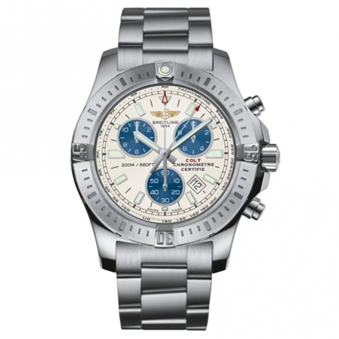 Colt Chronograph Quartz Watch with Silver and Blue Dial