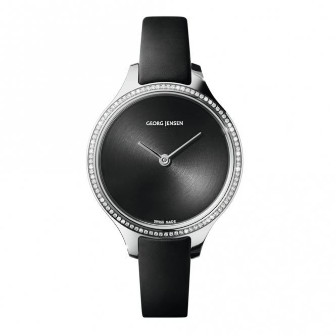 Concave 30mm Quartz Ladies Watch with Diamond Bezel and Black Dial