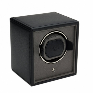 Cub Single Watch Winder in Black Pebble Faux Leather