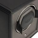 Cub Single Watch Winder in Black Pebble Faux Leather