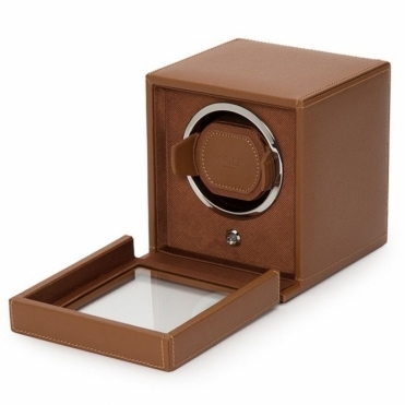 Cub Single Watch Winder in Cognac Pebble Leather