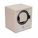 Cub Single Watch Winder in Cream Saffiano Faux Leather