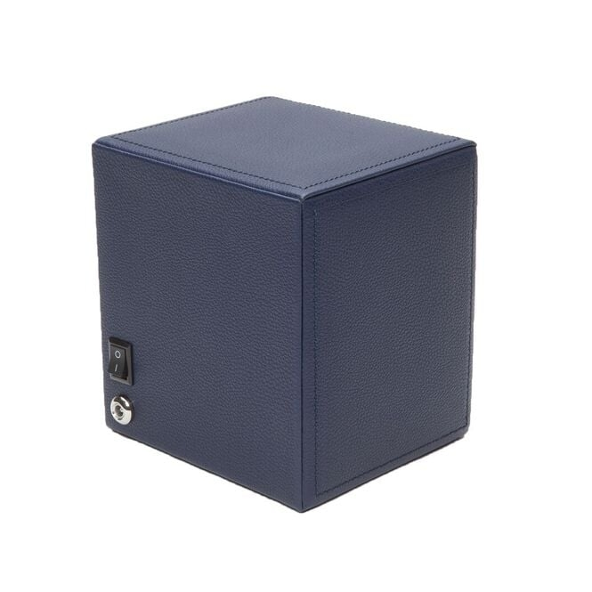 Cub Single Watch Winder in Navy Pebble Faux Leather