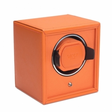 Cub Single Watch Winder in Orange Pebble Faux Leather