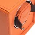 Cub Single Watch Winder in Orange Pebble Faux Leather