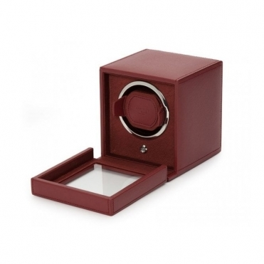Cub Single Watch Winder with cover in Bordeaux