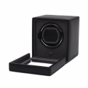 Cub Single Watch Winder with Glass Cover in Black Pebble Faux Leather