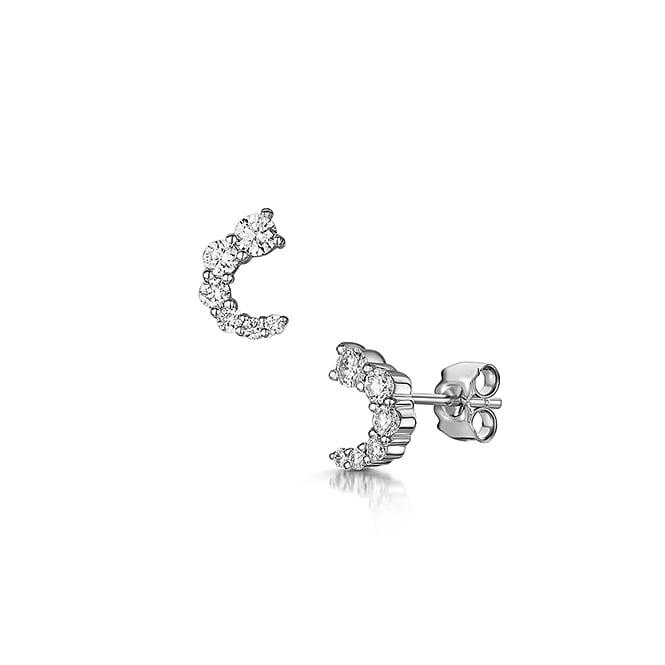 Curved Diamond Stud Earrings