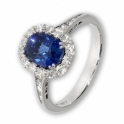 Cushion sapphire and diamond halo style ring
