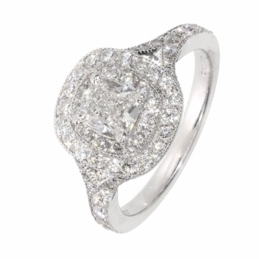 Cushion Shaped Diamond halo style ring