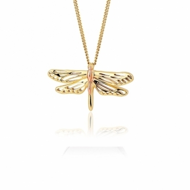 Damselfly Gold Pendant