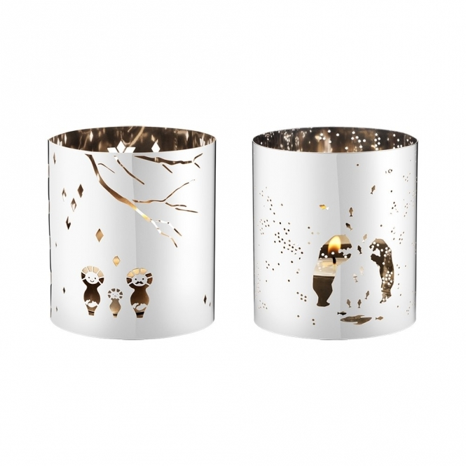 December Tales Stainless Steel Candle Holder Duo