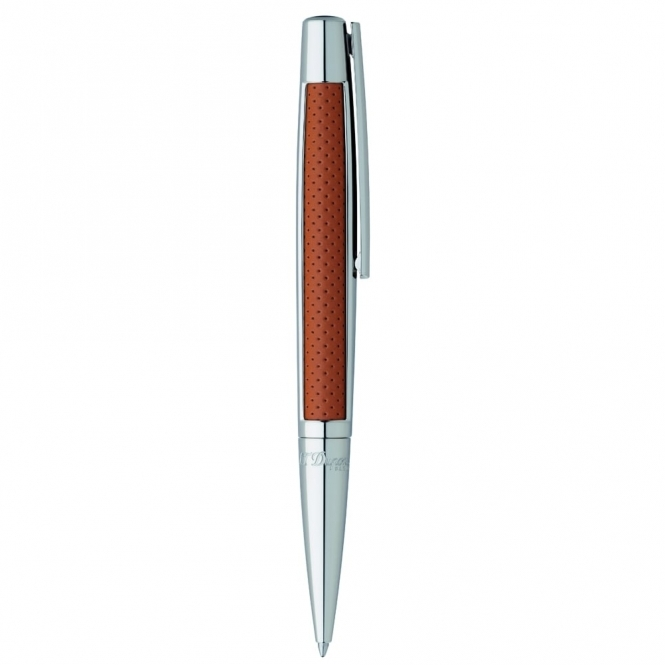 Defi Ballpoint Pen in Camel Perforated Leather and Palladium