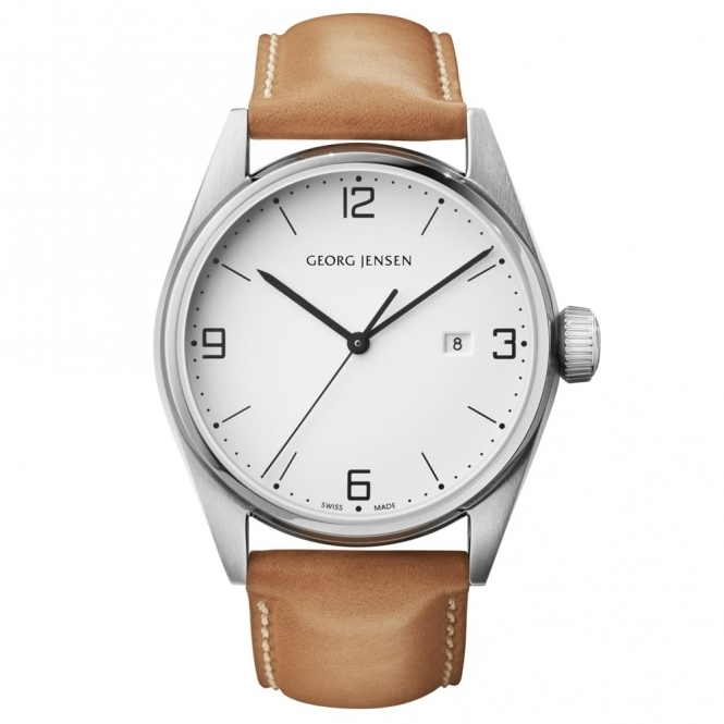Delta S42-ST02 Gents Quartz Watch with White Dial and Tan Strap