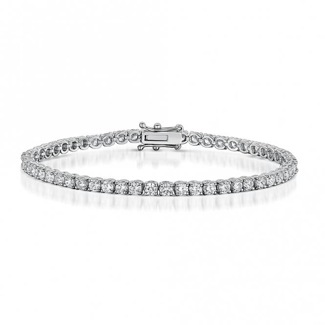 Diamond Line Bracelet in 18 White Gold