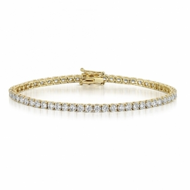 Diamond Line Bracelet in 18 Yellow Gold