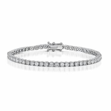 Diamond Line Bracelet in 18ct White Gold