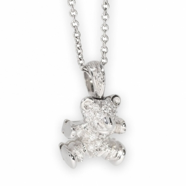 Diamond set teddy bear pendant
