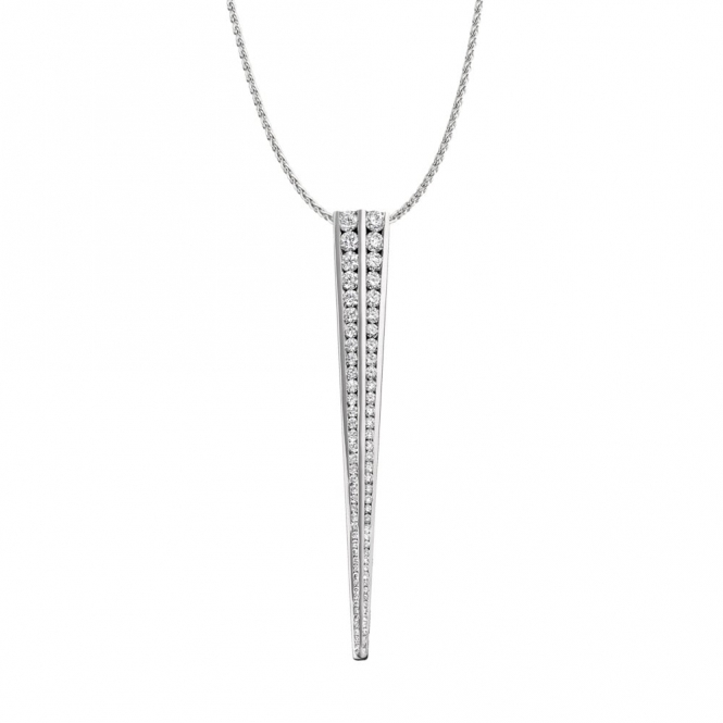 Double Row Graduated Diamond Pendant in 18ct White Gold