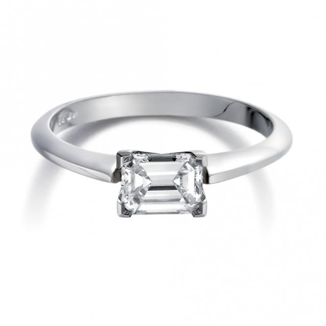 Emerald Cut Diamond Ring in Platinum