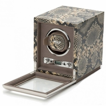 Exotic  Single Watch Winder in Python-Skin Embossed Leather