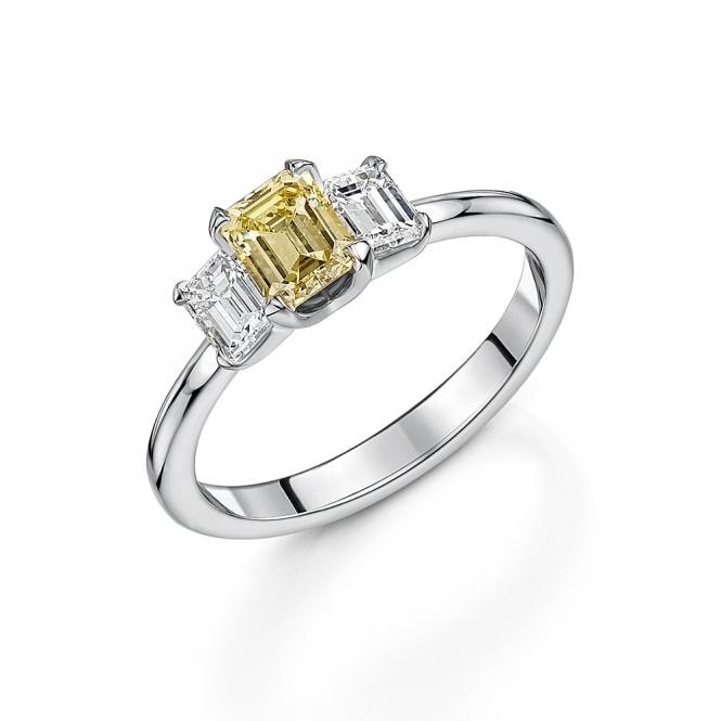 Fancy yellow emerald cut diamond ring